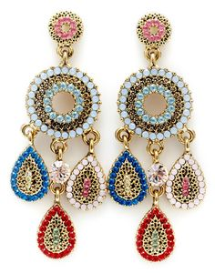 Civetta Spark statement earring - made with Swarovski Elements Crystal in colour B by Civetta Spark Statement Earrings, Drop Earrings, Swarovski Crystal Earrings, Crochet Earrings, Detail, Handmade, Rainbow, Jewellery, Colour