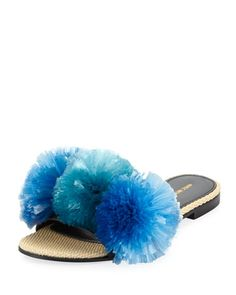 Bora Bora Raffia Pompom Slide Sandal, Blue