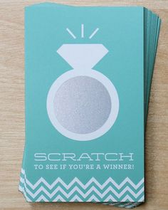 Add a little excitement to your bridal shower or engagement party with these elegant scratch cards