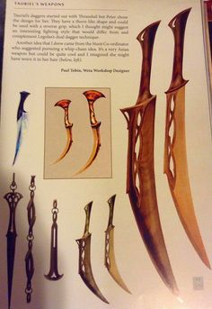 Tauriel dagger's concept art - a good ref! I think I'll try making these out of balsa wood and air dry clay.