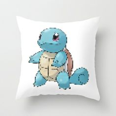 PIXELATED SQUIRTLE Throw Pillow by Marco Lilliu - $20.00