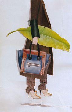 Céline Navy Calfskin Satin Mini Luggage, Winter 2011, Advertisement @Katie Starrs