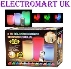 3 X COLOUR CHANGING FLICKERING FLAMELESS LED WAX MOOD CANDLES VANILLA SCENTED