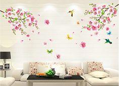 Cute HALLOBO XXL Wandtattoo Blumen Vogel Schmetterling Wandaufkleber Wandsticker Wall Sticker Wohnzimmer Schlafzimmer Deko
