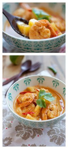 Thai Pineapple and Shrimp Curry. We all love Thai curries and this curry is so yummy you could drink from it. Learn how to make this quick, no-fuss recipe! http://rasamalaysia.com