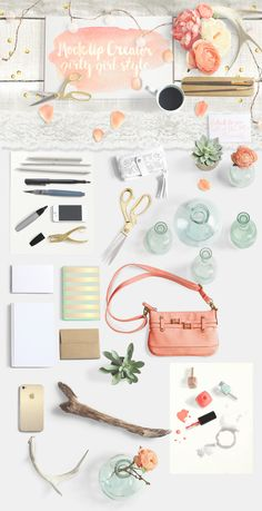 The Girly-Girl Mock Up Creator - Product Mockup Layered PSD Document with movable objects for product styling.