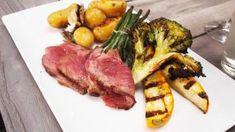 Entrecote op de barbecue met krieltjes in papillot, gegrilde groenten en thousand islands saus