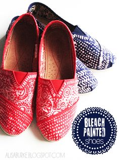 alisaburke: bleach painted shoes.  What a cool idea! I think this would be cool with a Mendhi tattoo pattern!
