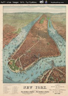Williams' #map of #Manhattan (1879) #NYC — http://www.bigmapblog.com/2012/williams-map-of-manhattan-1879/