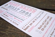 Concert Ticket Wedding Invitation  Deposit to by FreshPaperStudios, $75.00