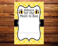 Mom to Bee Advice Card - Bee Theme - Baby Shower - Printable Decor - Digital Download - Mommy to Bee - Bee Party - Baby Sprinkle - by RansburyDecor