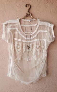 small gypsy mesh beaded blouse