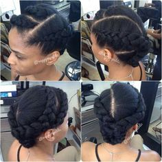 These updos natural hairstyles really are gorgeous Natural Hair Updo, Natural Hair Care, Natural Hair Styles, Simple Natural Hairstyles, Braided Hairstyles, Cool Hairstyles, Twisted Hair, 2 Braids, Pelo Afro