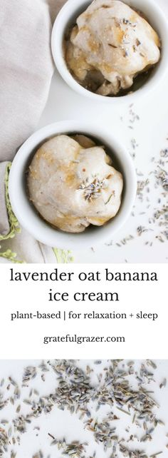 Relaxing lavender ice cream made with bananas and oats is a delicious plant-based dessert recipe that will help you relax and get better sleep. via @gratefulgrazer