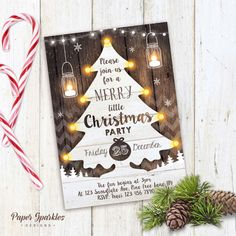 Christmas Party invitation FULLY CUSTOMISED, digital rustic Christmas Invitation. Size 5x7. Matching tags (pictured) available to purchase: