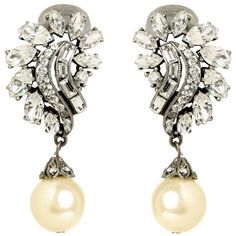 Pearl and Crystal Cluster Drop Earring ($239) ❤ liked on Polyvore featuring jewelry, earrings, ivory earrings, ben amun earrings, ivory jewelry, swarovski crystal jewelry and ben amun jewelry