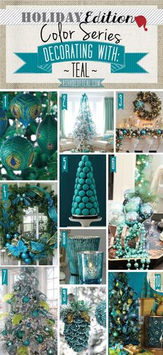 A Shade Of Teal - Holiday Color Series; Decorating with Teal. Teal holiday home decor Turquoise Christmas, Coastal Christmas, Christmas Colors, Winter Christmas, Christmas Home, Peacock Christmas Tree, Christmas Palette, Christmas Ideas, Vintage Christmas