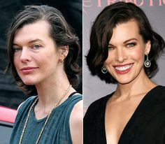 Milla Jovovich without and with make-up