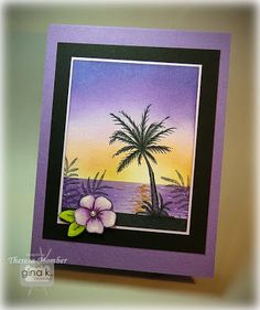Theresa Momber: Crafting The Web: Tropical Sunset - (tutorial included). Nautical Cards, Beach Cards, Stamping Up Cards, Watercolor Cards, Beach Watercolor, Copics, Diy Cards, Quick Cards, Flower Cards