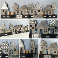 This Little village with pewter accents makes a perfect gift for a baby boys nursery , Sim from our Wednesday class had such fun creating this piece adding in her own creativity Pewter Art, Pewter Metal, Paper Clay, Clay Art, Metal Crafts, Diy And Crafts, Metal Embossing, Christmas Clay, Cardboard Art
