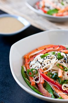 to be made immediately: cold sesame noodle salad!  Loaded with veggies, coated in a delicious sesame sauce and made with GF brown rice noodles!