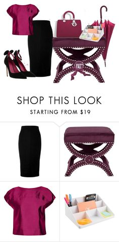 """Work"" by lalaline ❤ liked on Polyvore featuring Victoria Beckham, Safavieh, Raoul, Christian Dior and Oscar Tiye"