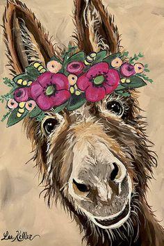 funny donkey art, farmhouse art print, farmhouse art, flower crown art by HippieHoundUSA on Etsy Cute Donkey, Cute Cows, Farm Paintings, Animal Paintings, Donkey Drawing, Crown Painting, Crown Art, Canvas Art, Canvas Prints