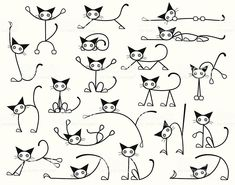 Illustration about Collection of editable vector cat sketches in various positions. Illustration of diverse, doodle, selection - 6760613 Gato Doodle, Doodle Art, Doodle Drawings, Easy Drawings, Easy Cat Drawing, Drawing Ideas, Tangle Doodle, Cat Sketch, Sketch Art