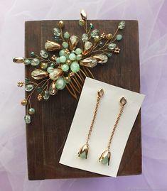 Комплект украшений для невесты в мятном цвете – купить в интернет-магазине на Ярмарке Мастеров с доставкой - EXFXFRU