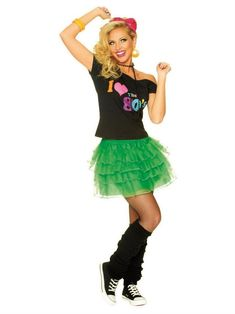 Like Cyndi Lauper used to say: Girls just wan to have fun! Bring back that spirit this Halloween with our Green Petticoat. Shirt, jewelry, leg warmers and shoes not included. - Green Petticoat From Francoamerican Novelty Company 80s Halloween Costumes, 80s Costume, Halloween Costume Accessories, Halloween Outfits, 80s Fashion Party, 80s Party Outfits, Disco Fashion, Retro Outfits, Punk Fashion