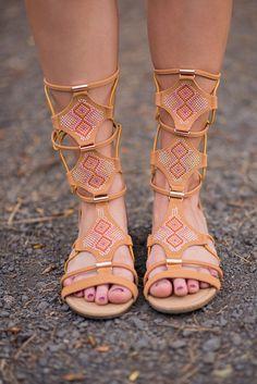 Bling Bling Strappy Tan Gladiator Sandals