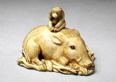 Boar with monkey on its back - Netsuke, 1800-1900