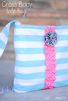 Cross Body Tote Tutorial by Crazy Little Projects.  I love this bag.  Love the fabric and colors too!  Can't wait for spring/summer.