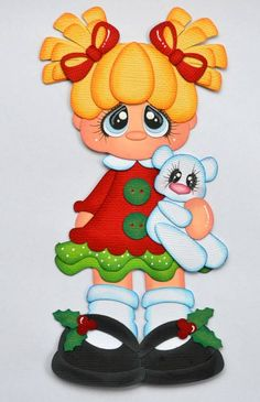 CrafteCafe Paper Piecing Christmas Girl for Premade Scrapbook Page Layout Santa