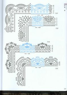 Pretty crochet lace edgings with scallops, including corners. ~~ кайма - Татьяна - Picasa Web Albums