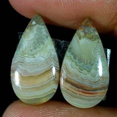 12.25Cts 100% NATURAL CRAZY LACE AGATE PEAR CABOCHON RARE MATCHED PAIR GEMSTONES