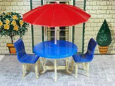 Plasco Patio Table with Umbrella Vintage Dollhouse Furniture Fits Renwal | eBay