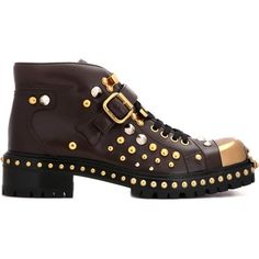 1c1380cf365b Miu Miu Embellished Leather Ankle Boots ( 1,805) ❤ liked on Polyvore  featuring shoes, · Leder-stiefelettenSchuhe ...