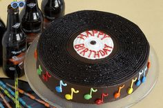 Record Cake for dad's birthday. Disco Party, Disco Cake, Dj Party, Music Party, Dj Disco, 40th Cake, Birthday Cake, Birthday Music, Record Cake