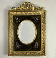 """Antique 19th c. French Dore 7"""" Bronze Bow Top Frame, Appliques, Convex Cover Glass Bow Tops, Antique Frames, Appliques, Victorian, Bronze, Bows, French, Things To Sell, Old Books"""