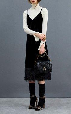 Velluto Black Slip Dress by Agnona