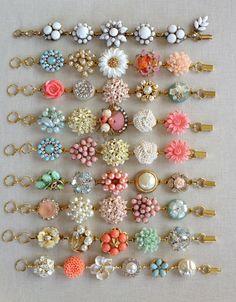 8 Bridesmaid bracelets repurposed vintage by ChicMaddiesBoutique Vintage Jewelry Crafts, Jewelry Art, Beaded Jewelry, Jewelry Design, Jewellery, Bridesmaid Bracelet, Wedding Bracelet, Bridesmaid Gifts, Jewelry Making Tutorials