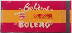 Boheme Bolero Cruise #matchbook - To design & order your business' own logo #matches GoTo: GetMatches.com #phillumeny