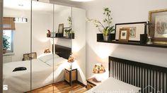 Szafa z lustrem, półka nad łóżkiem: Sypialnia to często pełni rolę garderoby. Szafy lub szafki, które pokrywają i są wbudowane w ściany, mieszczą przydatne miejsce na drobiazgi i ubrania. Dzięki takiemu rozwiązaniu pozbywamy się nadmiaru rzeczy z otoczenia, zbędnego bałaganu, a dzięki lustrom, które mogą być umieszczone na frontach szafy, dodamy sypialni centymetrów.