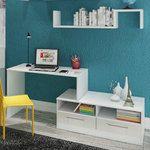 Escrivaninha/Bancada Extensível 663 Branco/Teka Bianco - Casamia | Lojas KD