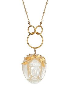 Flying Lizard Carved Mother-of-Pearl Buddha Pendant Necklace.