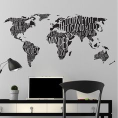 World Map with Travel Quotes - Dana Decals - 1