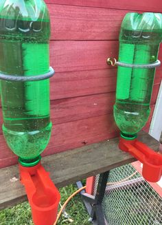 My DIY chicken waterers for inside their coop. On the inside of the side door. -free & easy to access! I used a 16.9oz skinny soda bottle bc the springs were pretty snug. These screw on waterers from Amazon were perfect! 4 Pack of Red Soda Pop Water Bottle Bird Drinker Cup & Spring Quail Dove Chicken Pigeon https://www.amazon.com/dp/B01N5A9BAV/ref=cm_sw_r_cp_apip_sbCgS1YEvUQEr