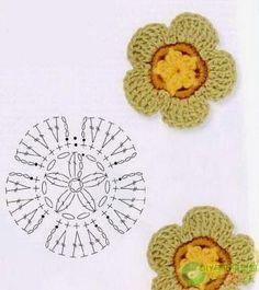 100 flowers to knit & crochet Crochet Leaf Patterns, Crochet Leaves, Crochet Squares, Crochet Motif, Crochet Doilies, Crochet Flowers, Crochet Stitches, Knit Crochet, Knitting Patterns