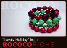 """Get in the spirit of the Christmas season with these bright holiday hues in """"Lovely Holiday""""! The beads are a combination of natural stone, glass pearls, and various other beads.  Christmas Bracelet with Memory Wire Green and Red by RococoRiche, handmade jewelry available on Etsy!"""